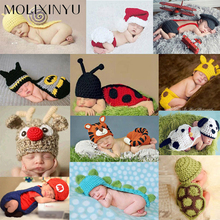 MOLIXINYU Cute! 2017 New Soft Newborn Baby Photography Props Newborn Baby Cap Baby Hats Crochet Newborn Baby Clothes Set
