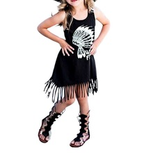 2017 New Spring Girls Dress Children's Clothing Casual Personality Style Baby Black Wild Fringed Dress