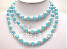 Fashion Style diy 7-8mm White natural freshwater Pearl blue stone chalcedony jades round beads long chain necklace 48inch MY5269