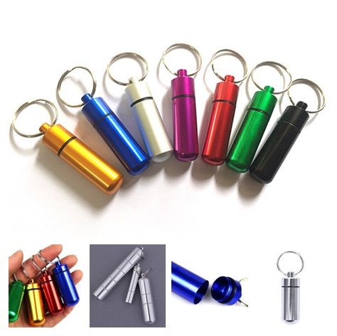 High Quality Pill Storage Box Pill Shape First Aid Cartridge Keychain Hot Portable WaterProof Mini Medicine Case Bottle Holder