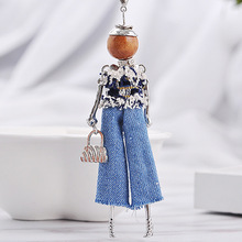 New Doll Rhinestone Pendant Maxi Necklace Women Cute Hot Angel Wing Jeans Girls Crystal Statement Necklaces Fashion Jewelry