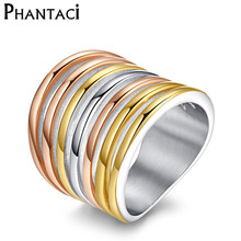 NO FADE Brand Designer Stainless Steel Ring for women Rose Gold 3 color Seven Layer Long Party Ring Fine Jewelry