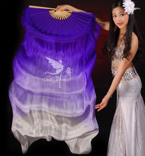 Real Silk Long Fan Veil For Belly Dance Thicker Oriental Dancing Veil Fan Right Left Hand 180cm Gradient Purple White