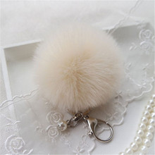 Cute Soft Faux Rabbit Fur Ball Pom Pom Plush Key Chain For Car Bag Pendant Car Keychain Handbag Charm Keyring 15 Colors