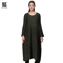 Outline Autumn Loose Dress O-Neck Full Sleeve Print Spliced Dresses Woman Loose Cotton Linen Hollow Out Casual Dresses L144Y007