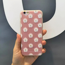 1 Pc/lot Soft TPU Love Hole Relief Daisy with Diamond Cell Phone Case for iPhone 6 6s