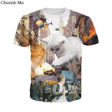 White Cat Play The Car Women Men Kitty Zilla T-Shirt Fully Sublimated Tee Godzilla Cat Terrorizing a City Fashion T Shirt Tops(China)