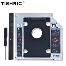 TISHRIC Aluminum Optibay 2nd HDD Caddy 12.7mm SATA 3.0 Hard Disk Drive Box Enclosure DVD Adapter 2.5 SSD 2TB For Laptop