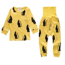 DB0158 New Hot sell arrival 2 pcs/set Baby & Kids Pajamas sets penguin Boys girl Suit T-shirt + pants sets 2-5T free shipping