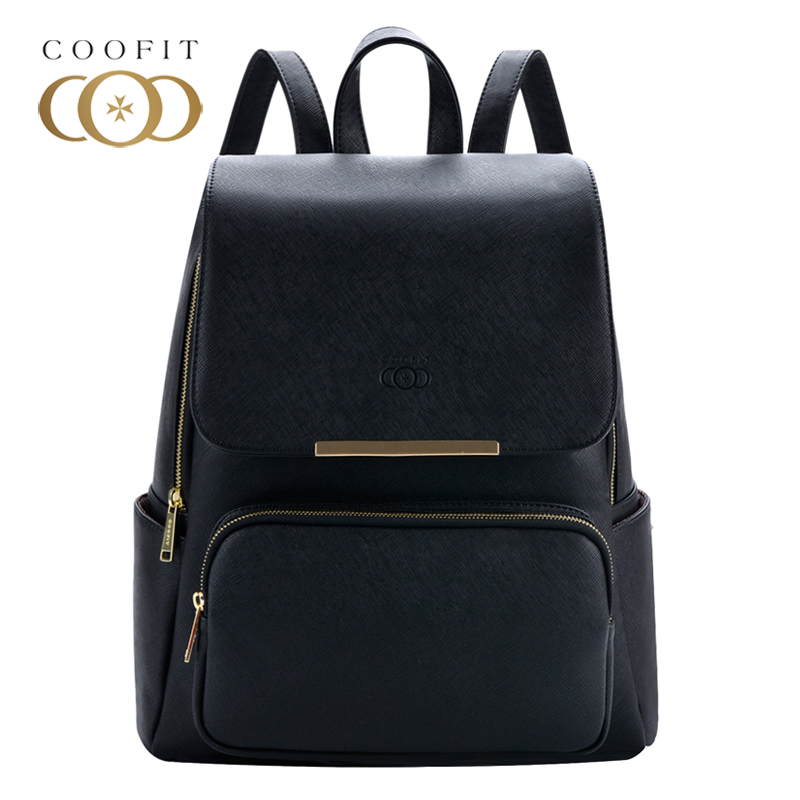 Coofit Design Concise Womens Backpack Leisure PU Leather School Bagpack For Girls Teens Female Backpacks Travel Black Rucksack<br>