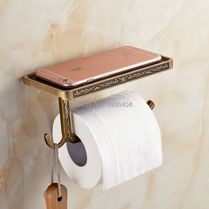 2017 Newly Toilet Paper Holder Antique Carving Mobile Phone Roll Paper Holder Wall Mounted Paper Rack with Phone 6P PH217<br><br>Aliexpress