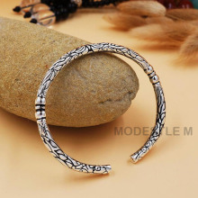 Wild Exquisite Silver Carving Bracelet of Men and Women. Mysterious Retro Thailand Silver Plated Bracelet