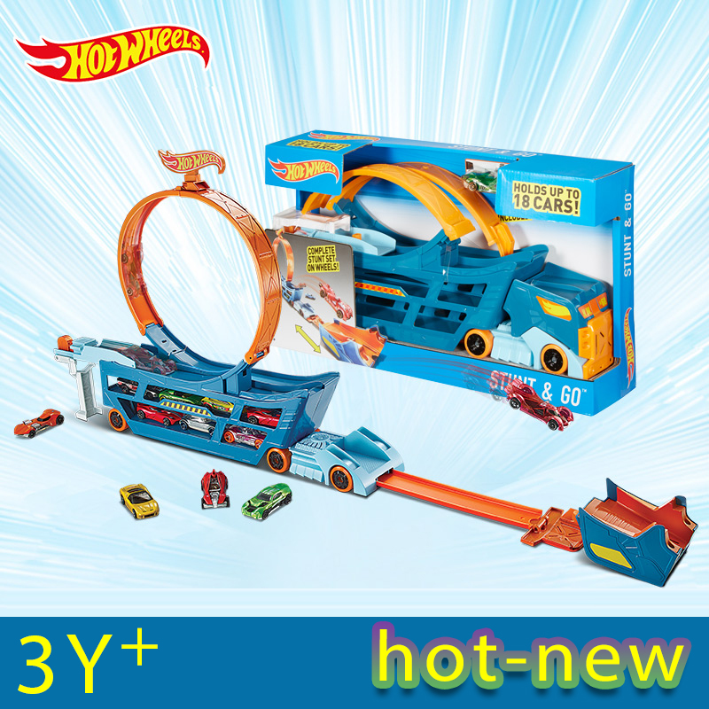 Hot Wheels Stunt N'' Go Mobile TS Move Track Car Toys Educational Truck Toys Best Boy Juguetes Gift Hold 18 Sports Car DWN56(China)