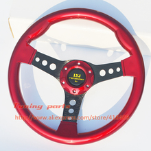 Free Shipping LYJ Motorsport Racing Car Steering Wheel Red ABS Racing Steering Wheel Non-Slip Game Steering Wheel(China)