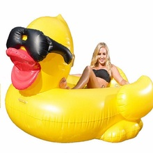 PVC Giant Inflatable Yellow Duck Inflatable Ride-On Seat Swimming Pool Float Birthday Party Gift Water Fun Toys Swim Ring 210CM