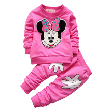 2017 Spring Autumn Children Clothing Set girls sports suit baby girls tracksuit Cartoon Minnie Children Clothes Set kids cloth