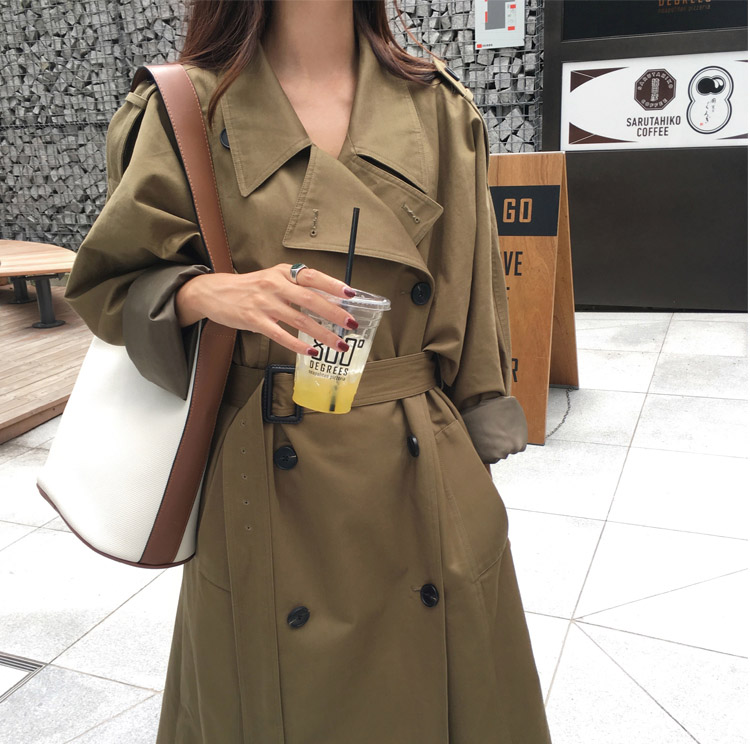 khaki Trench Coat Casual women's long Outerwear loose clothes for lady with belt spring autumn fashion high quality army green 17