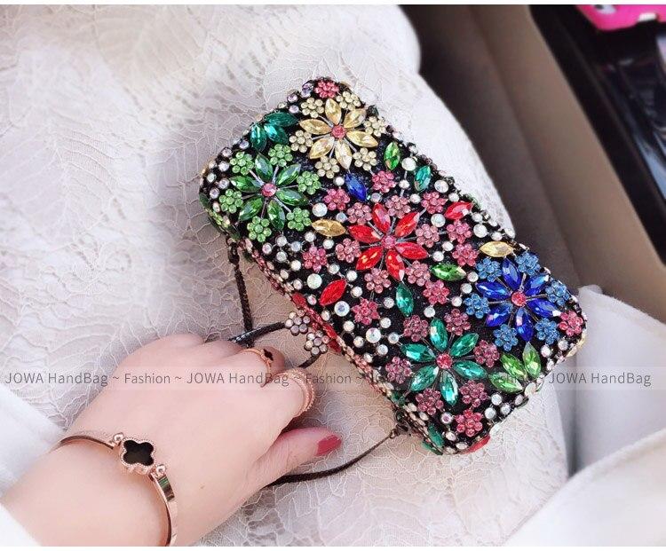 2018 Women's Fashion Evening Bags Shining Diamonds Handbag Ladies Silver Mini Handbags Rhinestone Flower Wedding Party Clutches