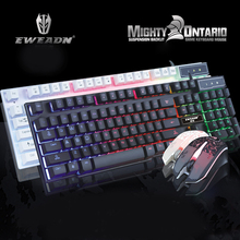 New Backlit T6 Computer Gaming Emitting LED Light Modes Mechanical Keyboard Black Blue Switches Metal Panels