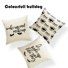 Plain Make Up Perfect Lashes Eyelashes Cushion Covers Charming Woman Red Lips Pillowcases Yoga Square Linen Large Floor Pillows(China)