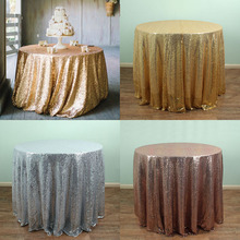 Round Gold Silver Sequin TableCloths Table linens overlays Wedding party Table sparkly Glitz decoration(China)