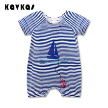 2016 Fashion Baby Clothes Short Sleeve Striped Color Romper For Newborn Baby One Piece Infant Baby Clothes