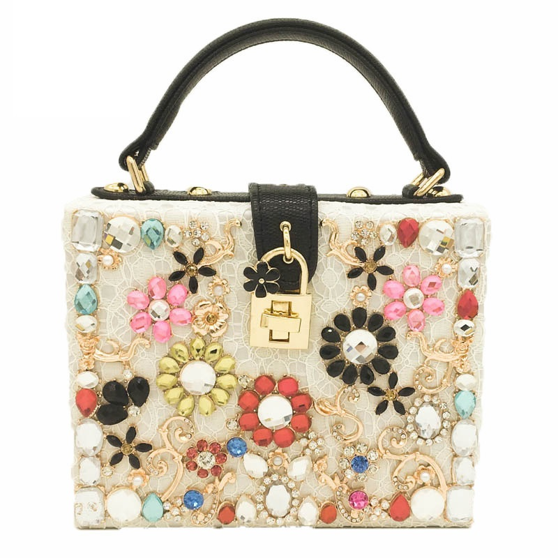 Multi Floral Flower Crystal Beige Lace Women Fashion Totes Shoulder Handbag Crossbody Bags Ladies Casual Business Box Clutch Bag<br>