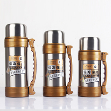 Stainless Steel Bottle Water Jug Sport Drinking Water Bottle Camping Drinkware With Rope Outdoor Large Capacity Kettle(China)