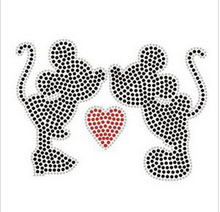 2pc/lot Kiss Mickey mouse sticker  hot fix rhinestone applique iron on crystal transfers design iron on applique patches shirt