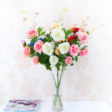 5pcs Simulated Rose Fake Roses Artificial Flower 5 heads for Wedding Party Centerpieces Artificial Decorative Flowers(China)