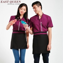 Restaurant waitress uniforms short sleeve waitress uniform pastry chef uniforms housekeeping clothing catering clothing NN0066 W