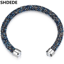 SHDEDE Jewelry Crystal from Swarovski Charm Bracelets Bangles Brand For Women Birthday Gift for Girlfriend 24368(China)