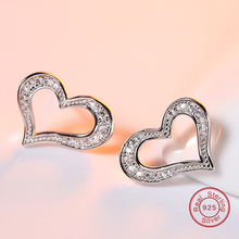 Women Stud Earrings Hollow Love Heart Shaped Micro AAA Cubic Zirconia Real 925 Sterling Silver Original Find Jewelry DE618