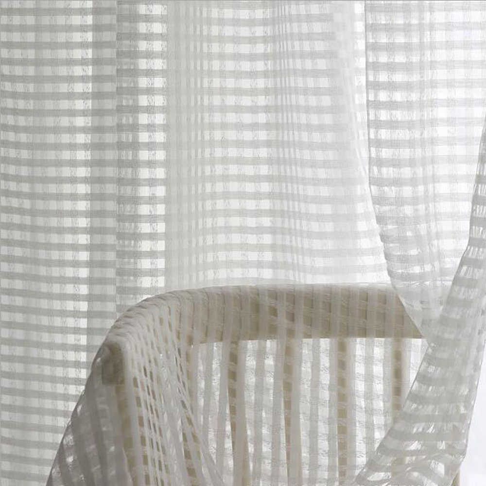 White Plaid Window Tulle Curtains for the Bedroom Modern Curtain Sheers for Living Room Voile Tulle Curtain Balcony Kids