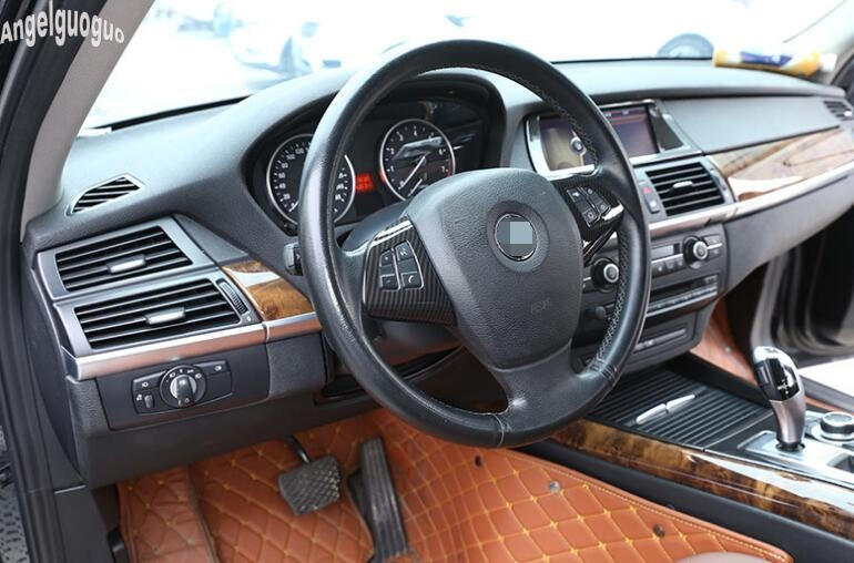 For BMW X6 E71 2008-2015 Interior Stainless Chrome Steering Wheel Cover Trim 1pc