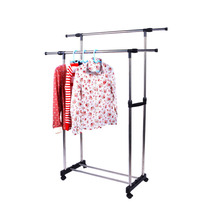 Homdox 100% Brand New Double Adjustable Clothes Rack Portable Hanger with Wheel Clothes Drying Rack #20-19