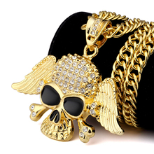 Mens Women Bling Golden Black Eyes Ghost Wings Pendants Necklaces Charm Crystal Skull Head Hip Hop Chains Jewelry Gifts(China)
