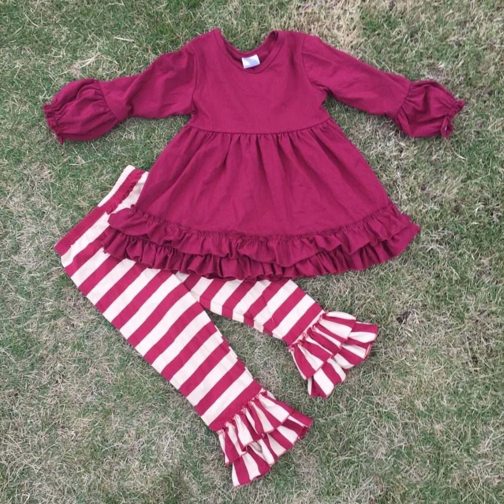 2015 new design 2-7t  ruffle top  boutique suit girls stripes pant long sleeves kids outfits super  cute baby kids wear set<br><br>Aliexpress