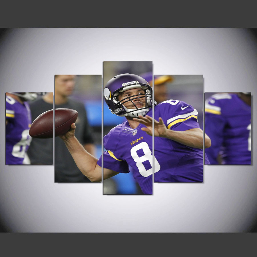 DAFENJINGMO ARTS 5 panel Modern hd Sam of the Bradford Vikings jerseys print canvas art wall framed paintings for living room(China (Mainland))