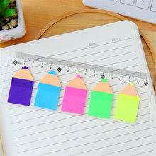 6 PCS/LOT Kawaii Candy Color Pencil Stub Memo Pad Bookmark Post it Label Sticky Notes Post It Page Flag Index With 15 Cm Rulers(China)