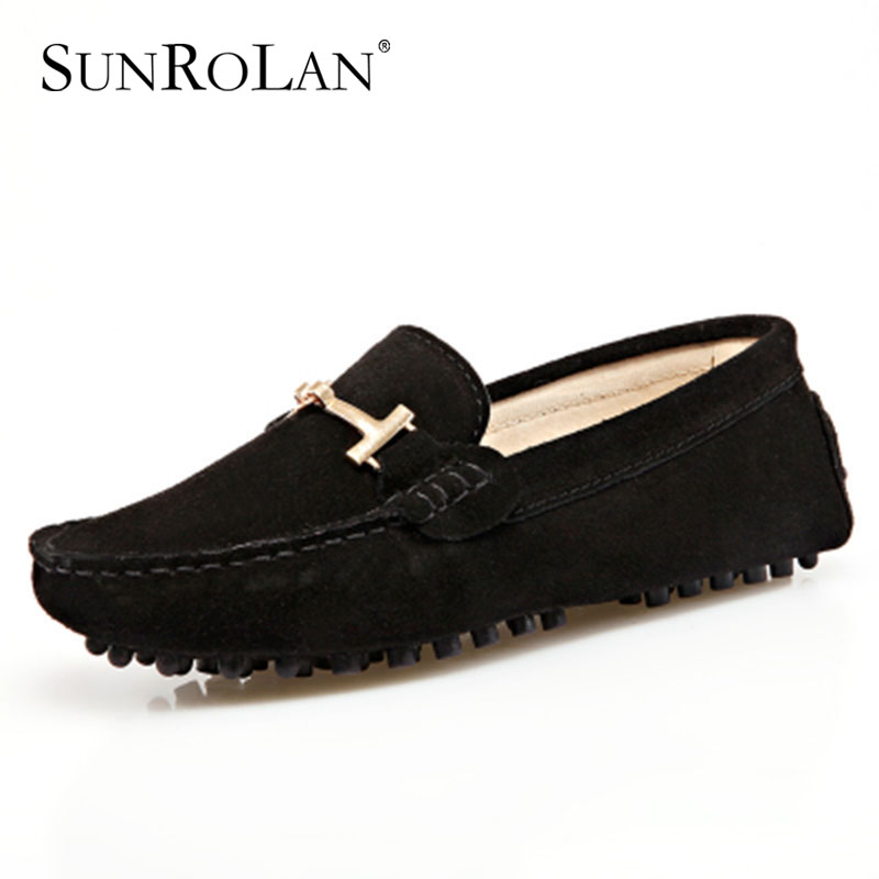SUNROLAN Brand Fashion Summer Style Soft Moccasins Men Loafers High Quality Genuine Leather Shoes Men Flats Gommino Driving G002<br>
