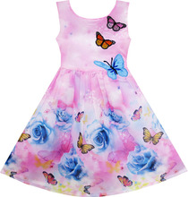 Sunny Fashion Girls Dress Rose Flower Butterfly Embroidery Purple 2017 Summer Princess Wedding Party Dresses Clothes Size 4-12