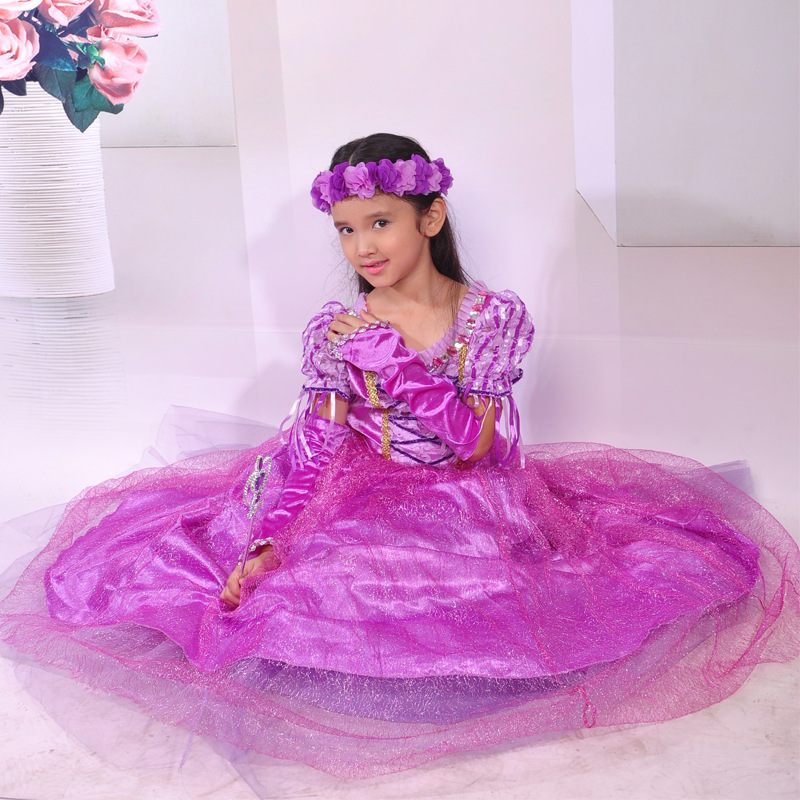 Hot Sale Girls Princess Dresses Kids Cosplay Costume Party Dresses Purple Cross Children Sofia Dress Clothing rapunzel dress<br><br>Aliexpress