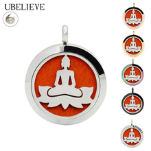 Newest Buddha 20mm 25mm 30mm Aromatherapy Essential Oil Diffuser Necklace Silver Round Perfume Locket Pendant Aroma Scent Locket(China)