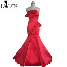 Real Photo Vestido de fiesta 2016 Red Satin Mermaid Strapless Cheap African Arabic indian saree Discount Long Evening Prom Dress