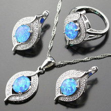 925 Logo Australia Blue Opal Bridal Jewelry Sets For Women Crystal Silver Color Necklace/Earrings/Pendant/Rings js01-066(China)