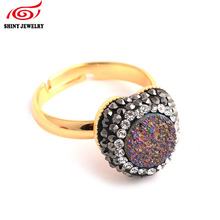 Fashion Heart Shape Rhinestone Natural Druzy Agates Gem Stone Ring Adjustable Gold Plating Women Party Wedding Bride Druzy Rings(China)