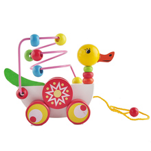 Educational duckling trailer toy mini around beads learning game multicolour children kids puzzle baby infant wooden Toys