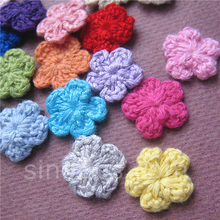 100 Colorfull Handmade Cotton Crochet Flowers, quilt scrapbooking DIY 3D craft knitted fabric flower applique clothes decoration
