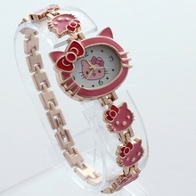 4Colors New Fashion Multi-color Cartoon Hello kitty Cat Quartz Watch for Children Girls Full Alloy Analog Wristwatches O73(China)